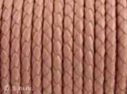 1 m Lederband geflochten rosa, 3 mm, Echtleder