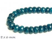 10 Stk. facettierte Jade Perlen oval 8 x 6 mm blau