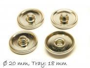 10 Stk. Druckknopf Rohlinge Cabochons 18 mm, platin