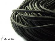 Lederband schwarz, 4 mm