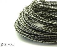 Kunstlederband geflochten schwarz-weiß, 3 mm