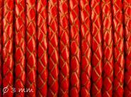 Lederband geflochten rot, 3 mm, Echtleder