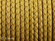 Lederband geflochten hellbraun, 3 mm, Echtleder