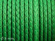 Lederband geflochten grün, 3 mm, Echtleder