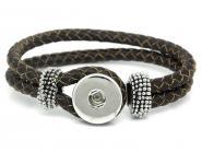 Armband mit  Druckknopf, Wechselschmuck, dunkelbraun