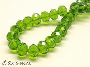 Glasschliffperlen, facettiert, grün, 8x6mm