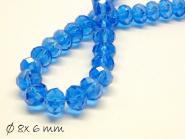 10 Stk. Glasschliffperlen, facettiert, blau, 8x6mm