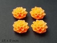 6 Stk. Chrysanthemen Cabochons in orange, Ø 15 mm