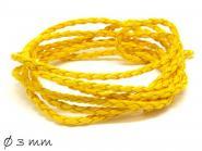 Kunstlederband  geflochten gelb, 3 mm