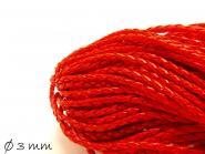 Kunstederband  geflochten rot, 3 mm