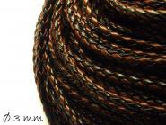 Kunstederband geflochten schwarz-braun, 3 mm
