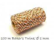 Baker's Twine, schwarz-orange-weiß Ø 1 mm