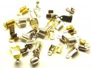 25 g Lederband Endkappen Mix gold silber bronze
