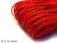 Kunstederband geflochten flach rot , 5 x 2 mm