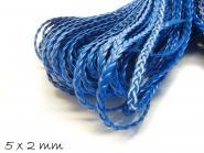 Kunstederband geflochten flach blau, 5 x 2 mm