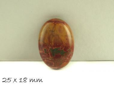 1 Stk. Picture Jasper, Stein, 25 x 18 mm rot-gelb