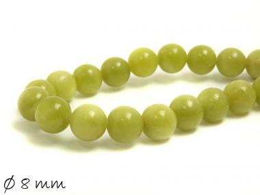 10 Stk Edelstein grün-gelbe Jade Perlen Ø 8 mm