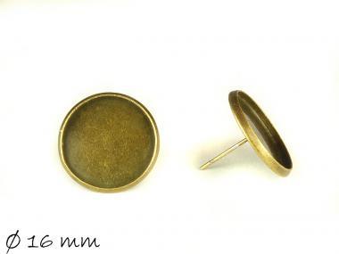 4 Stk. Ohrstecker Rohling, bronze, 16 mm Cabochon