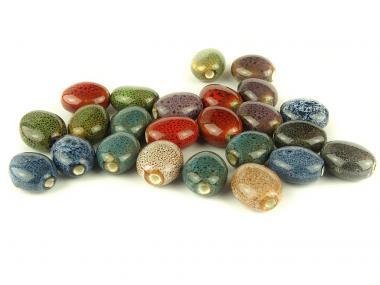 10 Stk Porzellan Perlen , Ø 16 x 14 x 9 mm, bunt