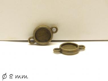 10 Stk. Verbinder mit Fassung für Cabochons 8 mm bronze