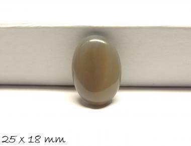 1 Stk Edelstein Cabochon grauer Achat, 25 x 18 mm