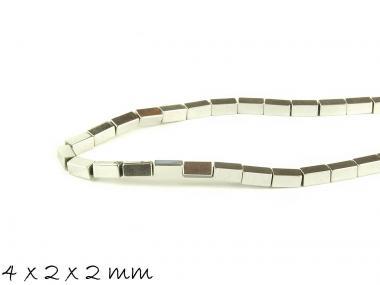 20 Stk Hämatit Perlen in Quaderform, silber, 4 x 2 x 2 mm