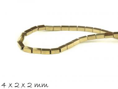 20 Stk Hämatit Perlen in Quaderform, altgold, 4 x 2 x 2 mm
