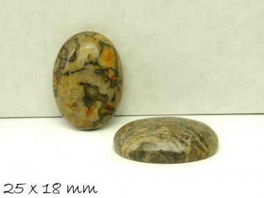 1 Stk Cabochon, Ripple-Jasper, 25 x 18 mm, gelb-grün