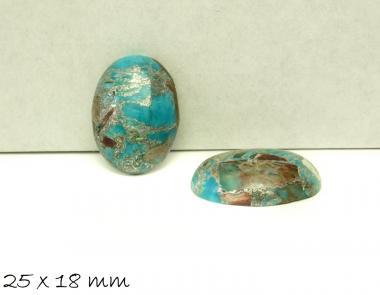 1 Stk Edelstein Cabochon, Regalit mit silbernen Linien, 25 x 18 mm, hellblau
