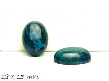 2 Stk Cabochons, Ripple-Jasper, 18 x 13 mm, blau