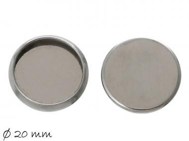 2 Fassungen f. Cabochons Deckel Edelstahl Ø 20 mm