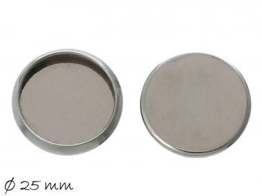 2 Fassungen f. Cabochons Deckel Edelstahl Ø 25 mm