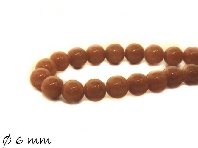 10 Stück Mashan Jadeperlen, braun, Ø 6 mm