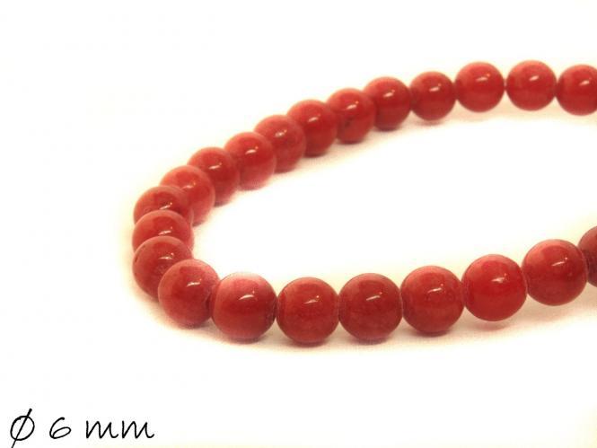 10 Stück Mashan Jadeperlen, rot, Ø 6 mm