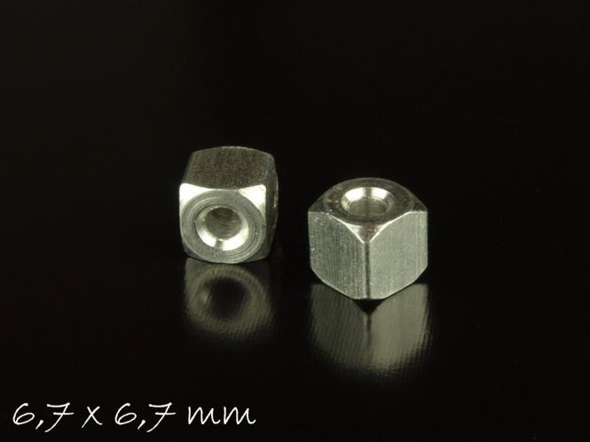 2 Stk. Aluminium Würfel von Impressart zum Stempeln, 6,7 x 6,7 mm Anhänger, Spacer