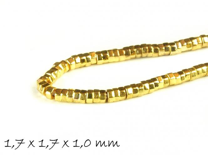 20 Stk Hämatit Perlen, gold, 1,7 x 1,7 x 1,0 mm