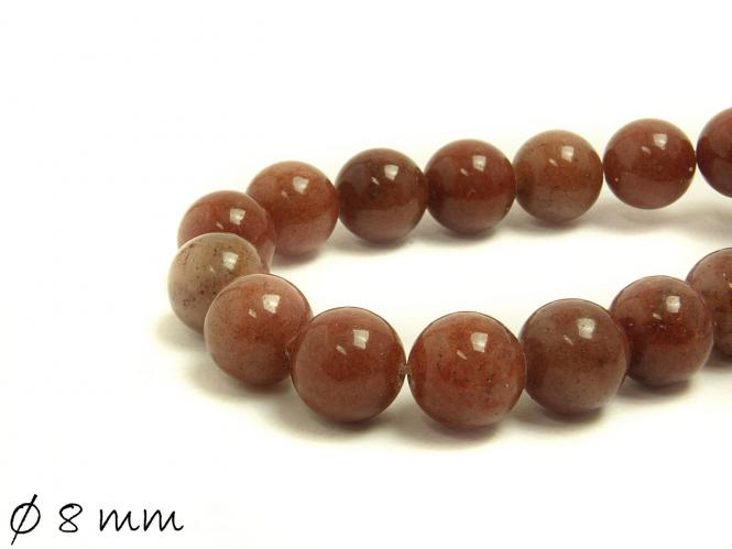 10 Stk Edelstein braune Jade Perlen Ø 8 mm