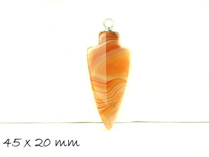 1 Stk. Pfeil Anhänger Edelstein Achat 45 x 20 mm, orange