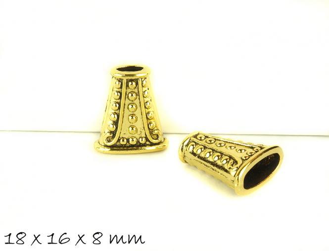 4 Stk Perlenkappe massiv altgold 18 x 16 x 8 mm