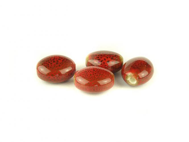 10 Stk Porzellan Perlen , Ø 16 x 14 x 9 mm, rot