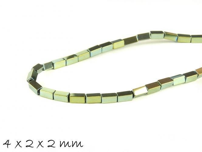 20 Stk Hämatit Perlen in Quaderform, grün, 4 x 2 x 2 mm