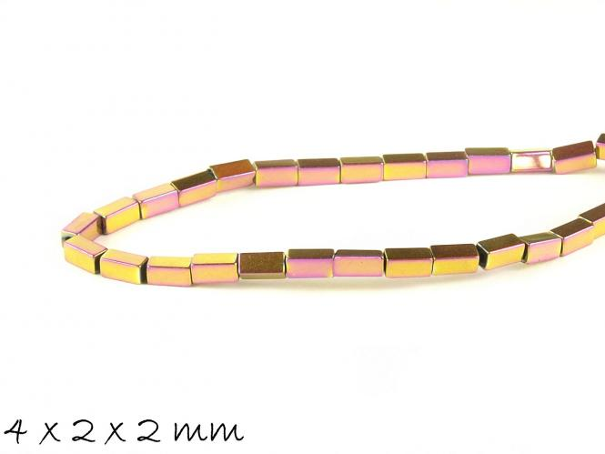 20 Stk Hämatit Perlen in Quaderform, pink-gold, 4 x 2 x 2 mm