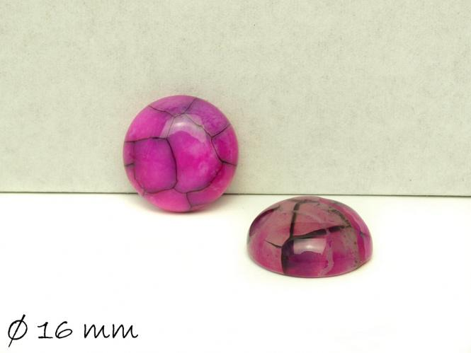 2 Stk Achat Cabochons, Drachenader, Ø 16 mm, pink