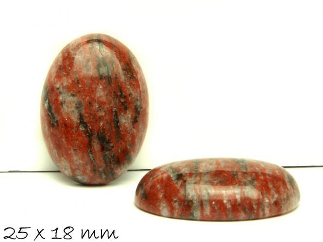 1 Stk Cabochon, roter Jasper, 25 x 18 mm