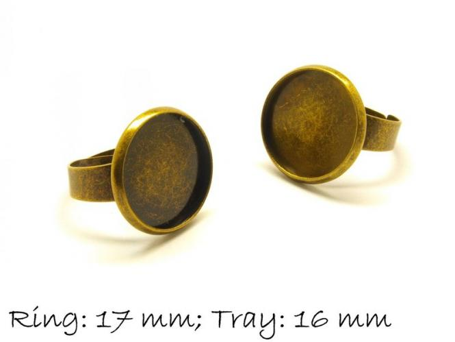 2 Stk. Ringrohlinge 17mm bronze, 16 mm Cabochonfassung