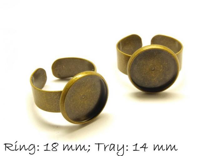 Ringrohlinge 18 mm bronze, 14 mm Cabochonfassung