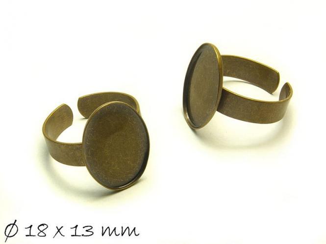 2 Stk. Ringrohlinge 18 mm bronze 18 x 13 mm Cabochonfassung